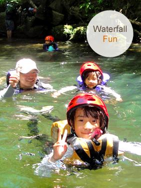 西表島でご家族にてマングローブカヌーツアー滝あそび